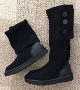 Ugg Womens Size 7 Classic Cardy Cashmere Black Tall Sweater Boots 1014460