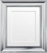 Scandi Silver Photo Picture Frames And Choice Of Black White Ivory Pink Blue Mount