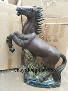 78 Cm Chinese Wucai Porcelain And Pottery Fengshui Horse Rise In The World Statue