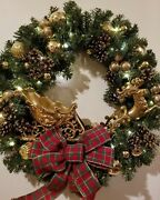 Electric Lighted 24 Christmas Holiday Wreath Gold Sleigh Reindeer Balls Pine