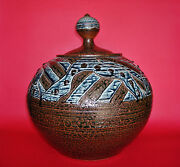 Very Large And Early Jim Connell Studio Pottery Covered Jar - 13 1/4h X 12 1/4w