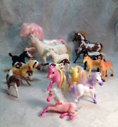 Assorted Lot Of 17 Horse And Pony Toy Figures Hard Plastic, And Pvc Funrise Breyer
