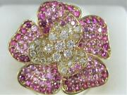 Large Fancy Pave 3.46k Diamond Pink Sapphire 14k Gold Flower Cocktail Ring 90027