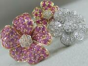Modern Pave Diamond Ruby Pink Sapphire 14k Gold Puff Flower Cluster Ring 900021