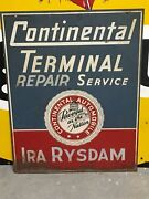 Vintage Original Continental Automobile Gas Oil Sign Old Car Auto Double Sided