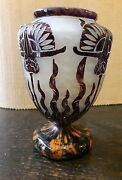 Nice Art Deco Le Verre Francais Vase With 2 Small Handles Missing