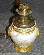 Antique Gone With The Wind Lamp Royal Worcester Porcelain Pottery Fabulous Rare