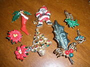 Lot Of Vintage Christmas Brooch Brooches And Clip On Earrings Costume Jewelry