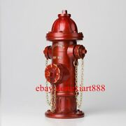 38 Cm Chinese Art Deco Pure Brass Red Fire Hydrant Model Piggy Bank Sculpture