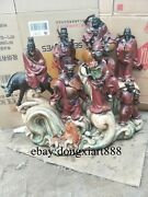 70 Cm Chinese Wucai Porcelain And Pottery Eight Luck God Eight Immortals Statue