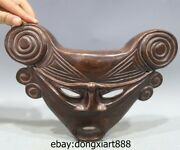 China Redwood Handwork Carving Triangle Mask Wall Hanging Art Deco Sculpture