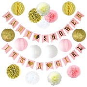 Party Supplies Baby Shower Decor Girl Decorations Banners Paper Lanterns Pink