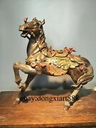 55 Cm Chinese Wucai Porcelain And Pottery Fengshui Animal Dragon Horse Sculpture