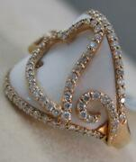 Estate Wide 8.41ctw Diamond Agate 14k Rose Gold Heart Cocktail Ring 19m R38514a0