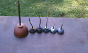 7 Antique And Old Vintage Engine Oilers / Oil Cans Gas And Oil
