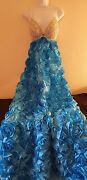 Blue And Silver 3d Rose Empire Crystal Backless Sheath Ball Gown Bridal Wedding