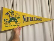 Vintage Notre Dame Home Of The Fighting Irish Pennant Yellow And Green