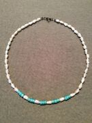 Japanese Cultured Keshi Pearl Necklace With Turquoise Beads
