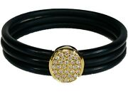 18k Yellow Gold And Rubber Diamond Bracelet By Cede
