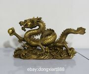 15 Chinese Zodiac Fengshui Animal Pure Brass Lucky Water Dragon Play Bead Statue