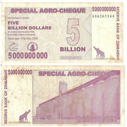 Zimbabwe 5000000000 Dollars 2008 P-61 Special Agro Cheques Paper Currencies