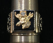 Moose Lodge / Moose Heart 1963 Double Anniversary 75/50 Years 10k Gold Ring