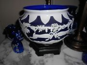 Fenton Burmese Sandcarved Kelsey Murphy Cameo Lamp Blue And White With Rams Exc.