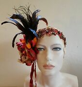 Gatsby 20and039s Flapper Harvest Feather Bead Bridal Headpiece Party Wedding Costume