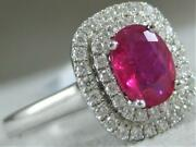 Modern Pave Diamond Ruby 18k White Gold Double Halo Cocktail Ring 12mm Rg9914wdr