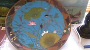 Antique Lotus And Birds Cloisonne Enamel Gold Wire Bronze Chinese Plate 14and039