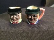 Vintage Victoria Ceramics Made In Japan Toby Character Jugs Mugs Set Of 7