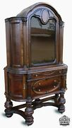 Rare Antique Jacobean English Style Walnut Hutch China Cabinet Early 1900and039s