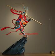 94 Cm Chinese Art Deco Pure Brass Painted Monkey King Sun Wukong Hero Sculpture