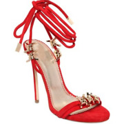 Dsquared2 7.5 38 Red Babe Barbed Wire Suede Ankle Tie Stiletto Sandals 1140