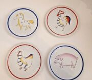 Arabia Finland Hand-painted 4 Sm Plate Animal Kingdom Pig Chicken Rooster Horse