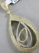 Modern Large Pave Diamond 14k Yellow Gold Hanging Pear In Pear Pendant Bp11984y