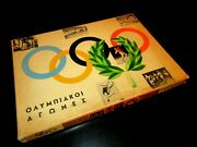 Unique Vintage Greek Hardboard Litho Board Game - Olympic Games - From 60s