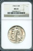 1944 S 50c Ngc Ms 65 Mint State Uncirculated Walking Liberty Silver Half Dollar