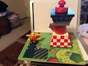 Thomas The Train Sodor Airfield Tower Airport Wind Up With Plane Included.