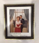 Ronald And Nancy Reagan Signed Photograph In Picture Frame Collectible Usa