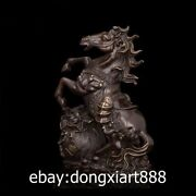 43 Cm Chinese Pure Bronze Copper Horse Equine Wealth Sack Fengshui Art Sculpture