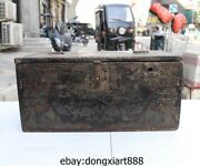 19 Chinese Wood Handwork Carved Painted Elephant Pattern Cabinet Small Box Chest