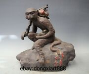 15 China Wucai Porcelain And Pottery Monkey Carry Peach Hold Ruyi Fengshui Statue