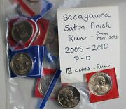 2005 Thru 2010 P And D Sacagawea 12 Coins Bu Satin One Dollar From Us Mint Sets