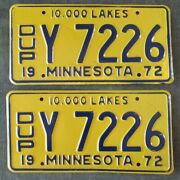 Antique Collector 1972 Minnesota Duplicate Truck License Plate Pair Yom Plates