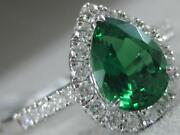 Modern Pave Diamond Emerald 18k White Gold Halo Diana Cocktail Ring 11mm 100230