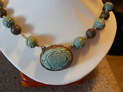 Estate Chinese Sycee 23 Silver Hand Carved Soapstone Necklace Filigree Beads