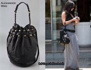 Alexander Wang Black Pebbled Leather Matte Studded Diego Bucket Bag Very Rare