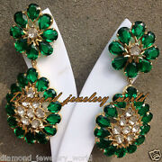 2.47cts Antique Cut Diamond Emerald Studded Silver Vintage Style Earring Jewelry