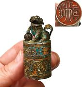 1930and039s Chinese Solid Silver Enamel Fu Foo Dog Lion Scholar Seal Chop Box